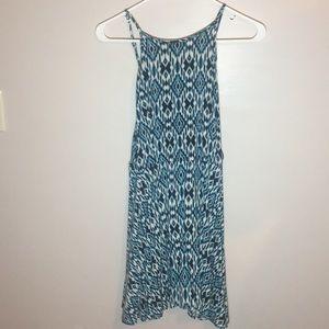 Multicolored flattering blue dress